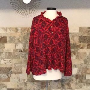Lands End red &purple button down long sleeve top